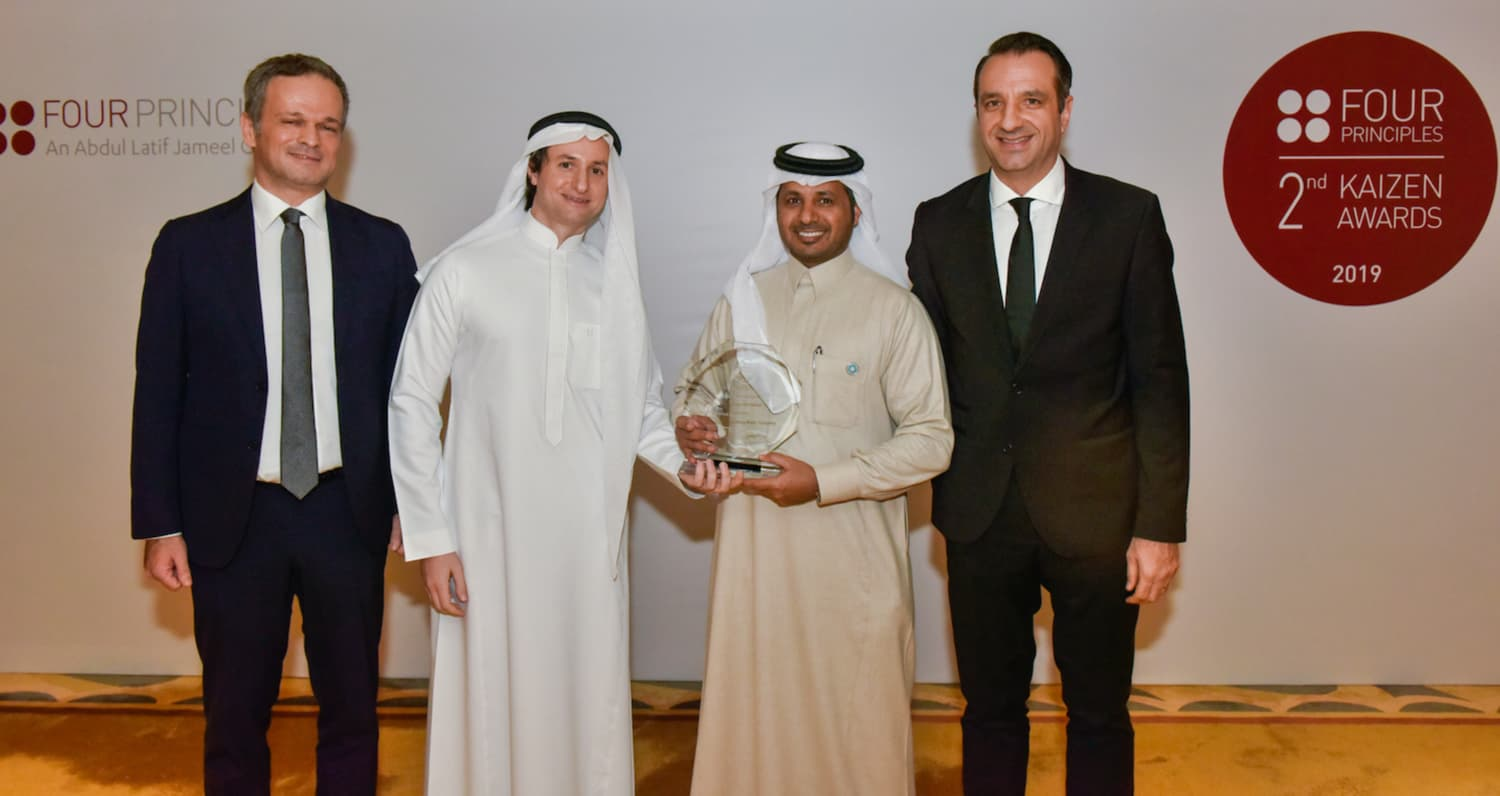 Eng. Showimy bin Ajayan Al Ktab, CEO of Tania Bottled Water Company receiving the 'Lean Transformation' Winner Award
